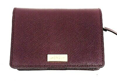 Kate Spade NY Burgandy Travel Wallet with Credit Card Slots Zippered Pouch NEW