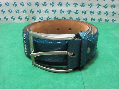 Vintage - Men's Belt Genuine Leather of Python, cm 110 x 4 - Cod. 550 - Italy