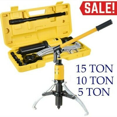 15T/5T/10T 3in1 Hydraulic Gear Puller Pumps Oil Tube 3 Jaws Drawing Machine US