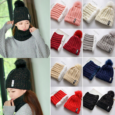 Womens Girls Knitted Snood Beanie Cap Hat and Scarf Set Neck Warmer For Snow Ski