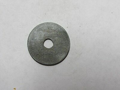 Old Tunisia Coin - 1942 10 Centimes - Circulated, discolored