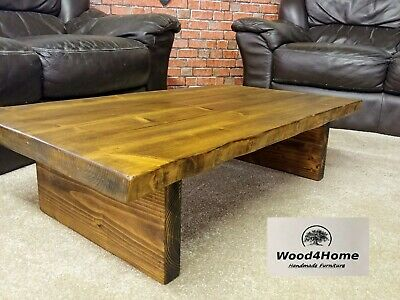 Handmade Rustic Live Edge Coffee Table Solid Wood / 11 colors available