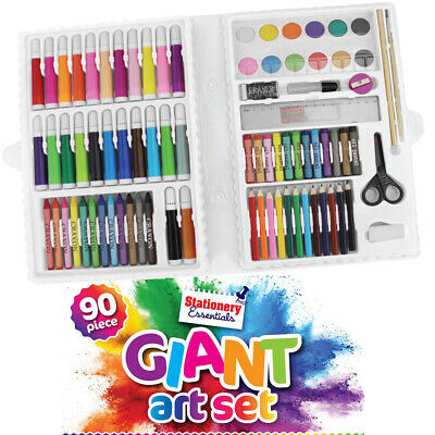 90pc Art Set with Crayons Pastels Markers Pencils Paint Felt Tips with Case  *