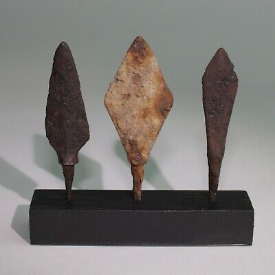3 x ANCIENT VIKING IRON ARROW HEADS - DATING CIRCA - 9th Century AD    (114)