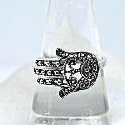 Hamsa 925 Silver Ring Hand of Fatima Ancient Potent Protection Amulet Evil Eye