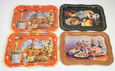 """LOT OF 4 Coca-Cola Fall Harvest Party Fiddle Metal Dinner Serving Tray 19x13.5"""""""