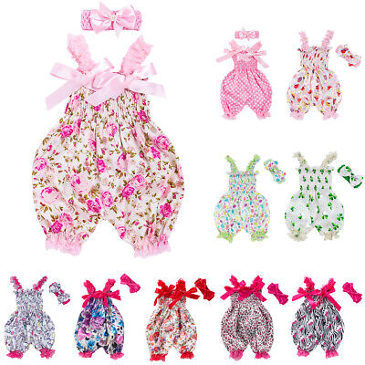 Toddler Baby Girls Summer Bow Jumpsuit Bloomers Pants Overalls Bodysuit Outfits