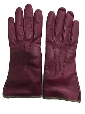 Neiman Marcus 7.5 (S) Maroon Leather Gloves With Lines