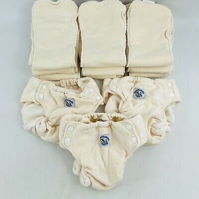 SwaddleBees Large AIO 3 Diaper Covers & 9 Inserts Lot Natural All in One Unisex