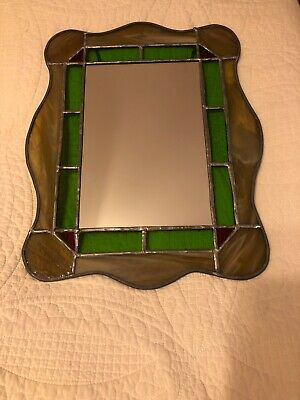 Small Vintage Stained Glass Mirror