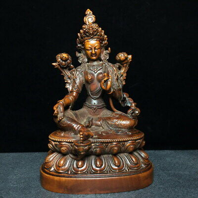 Collectable Decor Boxwood Carving Bodhisattva Sits Lotus Throne Exquisite Statue