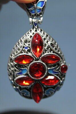 Decoration Handwork Miao Silver Carving Red Ruby Blue Pattern Exquisite Pendant