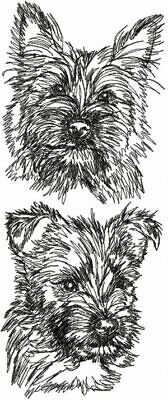 Cairn Terrier Dish Towel Set Embroidered