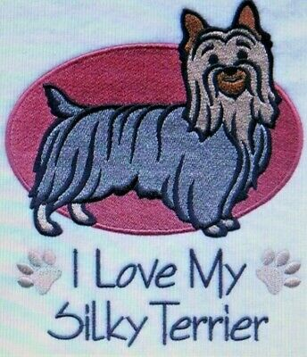 Love My Silky Terrier Dog Embroidered Personalized Tee Shirt ALL SIZES