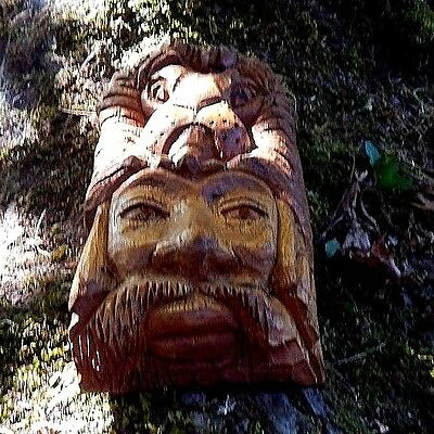 Hobo Wood Carving.  African American Face with a Lion head.  Odd and Unusual