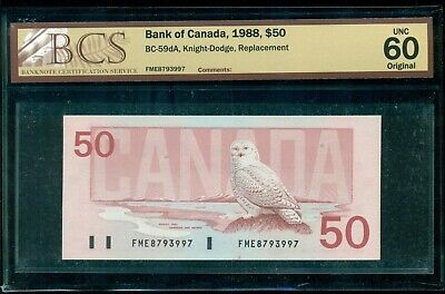 1988 $50 BC-59dA, Knight-Dodge, FME Prefix, BCS Cert. UNC60, Replacement Note