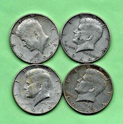 United States Lot of Four 1964 Kennedy Silver Half Dollars