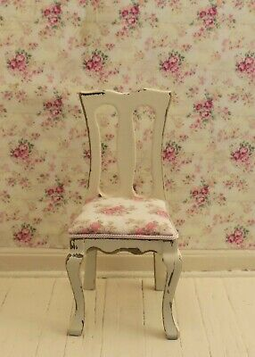 Dollhouse Miniature Shabby Chic Distressed Side Chair 1:12 One Inch Scale Pink