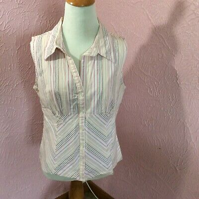 Xhilaration Stretch Sleeveless Blouse Junior Size XL Striped Pink White Peach