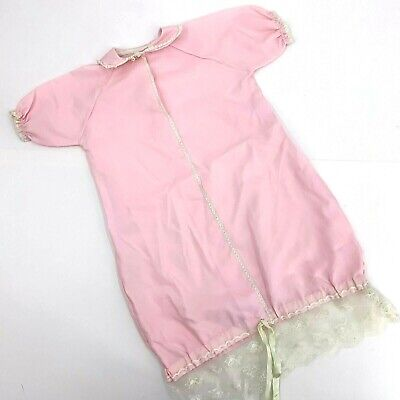Vintage 70s Pink Girls Infant Sleeper Sleep Sack Size 12 months lace