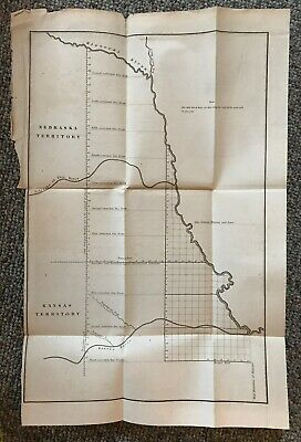 Nebraska & Kansas Territory Map Circa Late 1800s