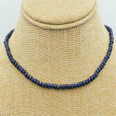 2x4mm Blue Chalcedony Faceted Necklace 18 Inches Yoga Reiki Chakra Meditation