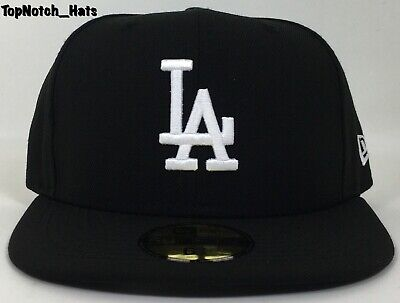 New Era 59Fifty Los Angeles LA Dodgers Game Fitted Black Hat New Era Brand New !