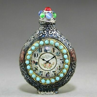 Exquisite Collection antique Clock white copper snuff bottle carving bead statue