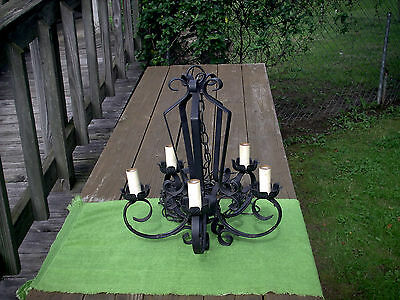 Vintage Black Wrought/Cast Iron Hanging Chandelier 5 Bulb Fixtures - Works