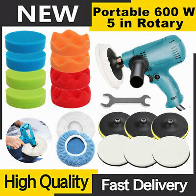 "5"" 600W Car Polisher Machine Sander Buffer Polishing Kit Variable Speed Wool Pad"