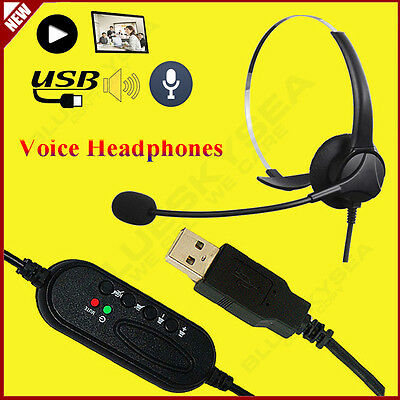 Headset Earpiece Speaker Call Center Customer Service Mic Microphone USB For PC