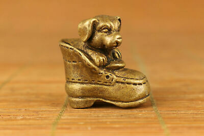 rare chinese old bronze hand carved dog shoes statue pendant netsuke