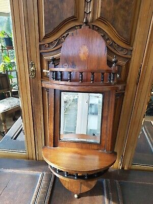 Antique-Large Ornate Inlaid Walnut/Mahogany Bow Front Mirrored Wall Shelf-c1880s