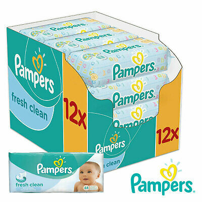 Pampers Fresh Clean Baby Wipes 12 packs x 52 wipes Total 624 wipes Toilet Tissue