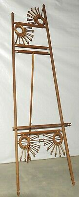 Antique Victorian Era Easel Turned Ribbed Spindle Accents Ball & Stick Tripod