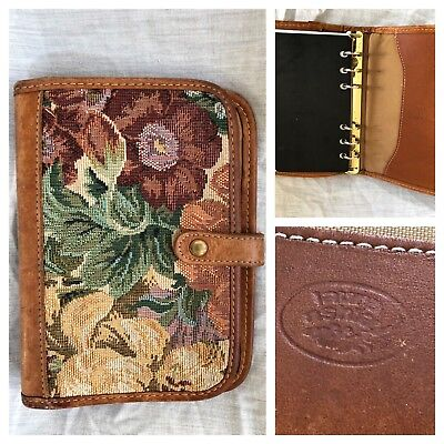 Vintage Laura Ashley Tapestry Leather 6 Ring Binder Planner Organizer  7.5x5.25""