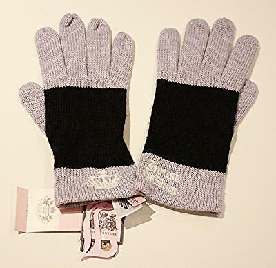 JUICY COUTURE Black Light Blue STRIPE Crown Embroidered WINTER GLOVES Wool BLEND