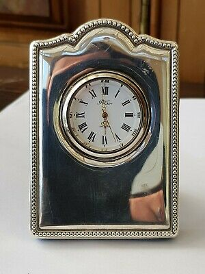 Vintage-Solid Silver Mounted Edwardian Syle Small Mantle Clock-Carr's Sheffield