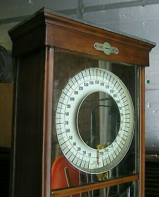 antique PENNY scale Columbia Weighing Machine Co 6' tall porcelain base NICE