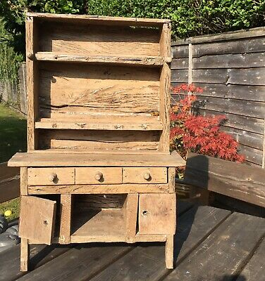 Old Antique Rustic Country Oak Wood Childs Miniature Welsh Dresser Bear Doll Pro