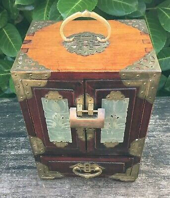 Old Vintage Chinese Musical Hardwood Jewellery Box Brass & Faux Jade Decoration