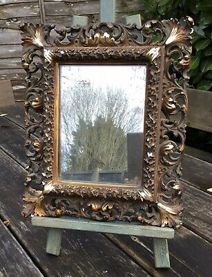 Small Antique Victorian 19th Century Plaster Scroll Mirror Wear To Plate AF