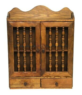 Vintage Rustic Wooden Spice Cabinet Rack 2 Shelves & 2 Drawers Wall Hanging