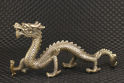 Chinese old bronze hand carved solid dragon fengshui blessing statue