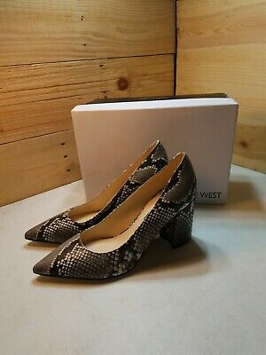 Womens Sz9 Nine West Cara Pump Grey Snakeskin Print