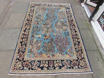 Fine Antique Hand Made Traditional Oriental Wool Silk Blue Large Rug 216x140cm