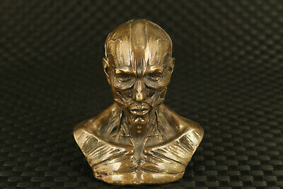 chinese old bronze hand skull man statue figure collectable ornament unique