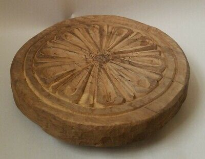 Carved Wooden Bread Board round footed trivet vintage reclaimed wood geometric