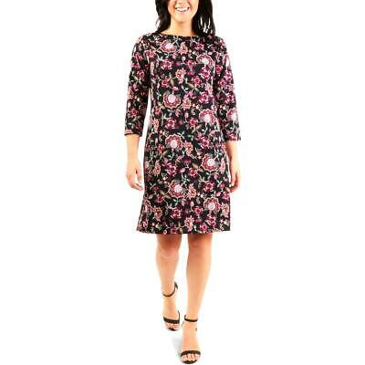 NY Collection Womens Black Floral Office Wear to Work Dress Petites PM BHFO 1337