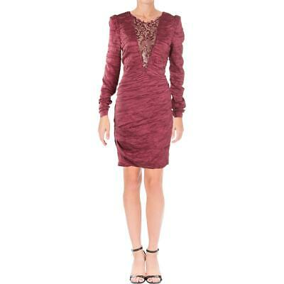 Free People Womens Red Ruched Lace Inset Bodycon Dress 10 BHFO 8595
